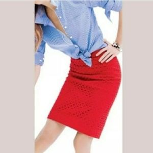 """J. Crew, Eyelet, """"No. 2 Pencil Skirt"""" Red Size 6"""